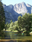 View of rafting in Yosemite Valley