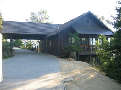 View of the house and carport from the garage